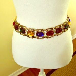 Costume jeweled GOT belt goldtone adjustable